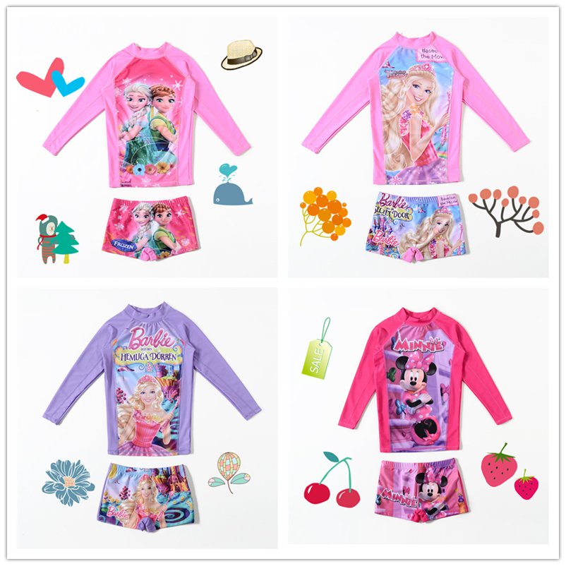 2018 new Sofia childrens long sleeve split body swimsuit for girls, middle school and large childrens sunscreen cartoon girls swimsuit