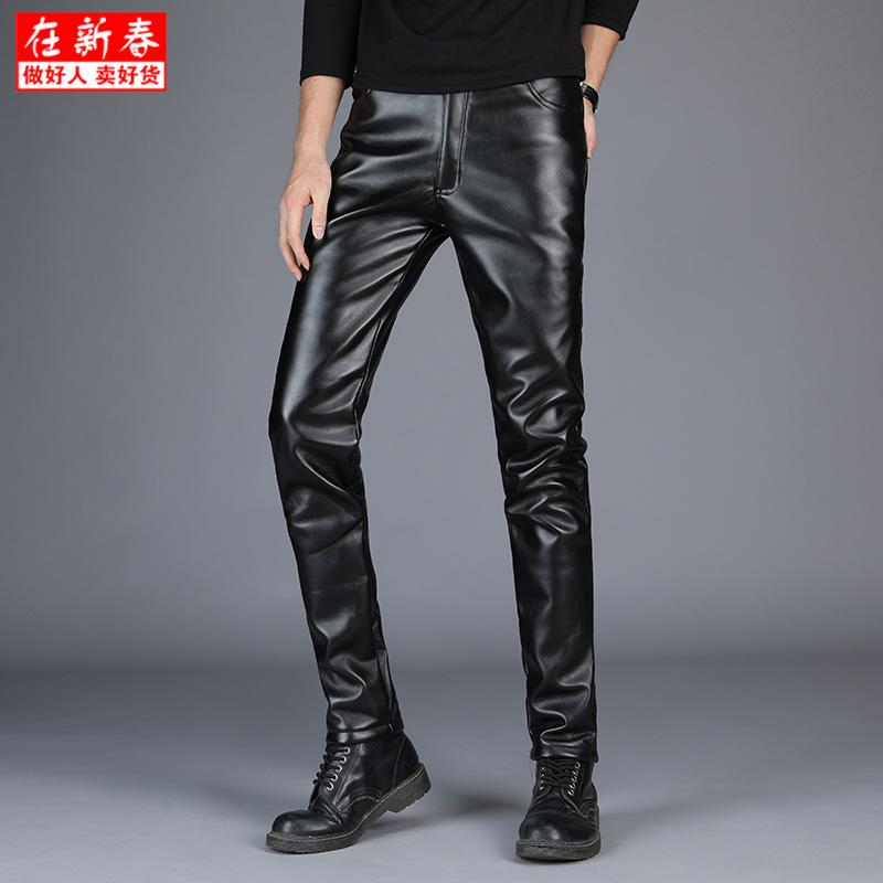 Кожаные штаны мужской замшевый утепленный осень-зима Противоугонная тележка версия Ноги брюки плотные тощие молодежный эластичные удерживающий тепло Брюки прилива