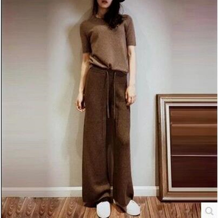 New style cashmere wide leg pants womens autumn and winter leisure high waist trousers loose and thin, wool knitted pants wear languid style