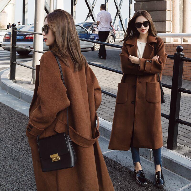 呢子大衣女装秋冬韩版显瘦学生中长款夹棉加厚过膝焦糖色毛呢外套