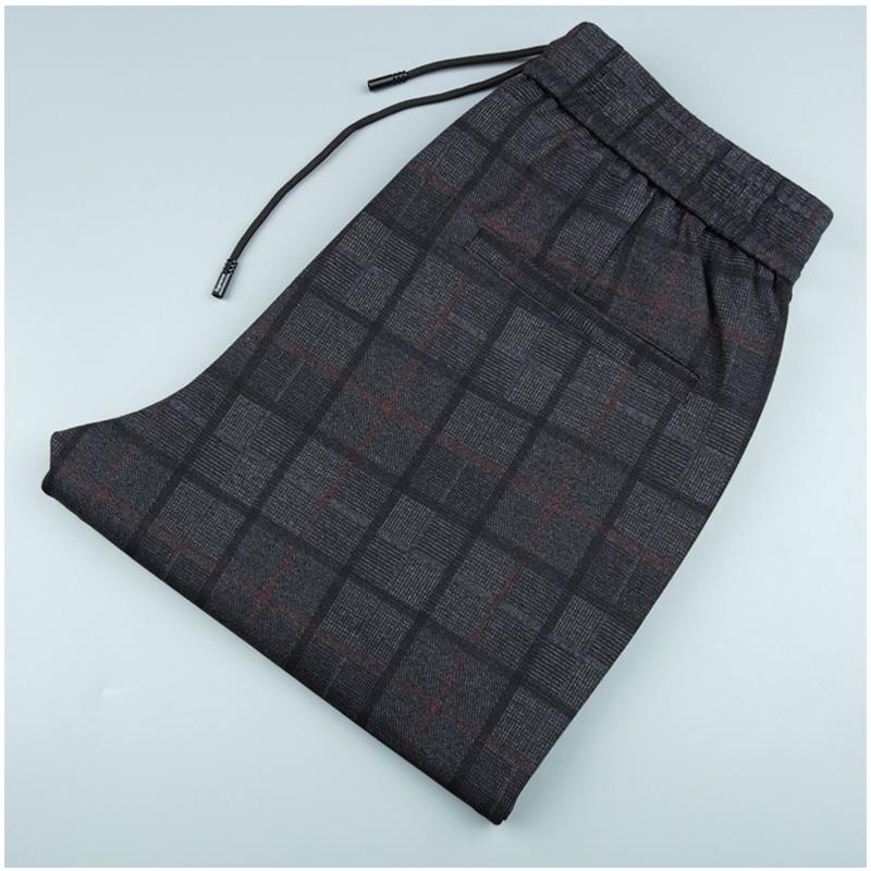Spring slacks mens elastic waist elastic lace up drawstring hemline nine point plaid pants mens fashion Korean version