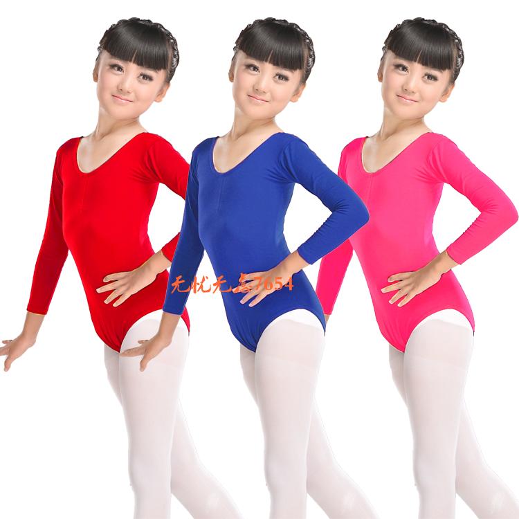 儿童舞蹈服女童长袖连体练功服体操服考级连体服练习服形体服短袖