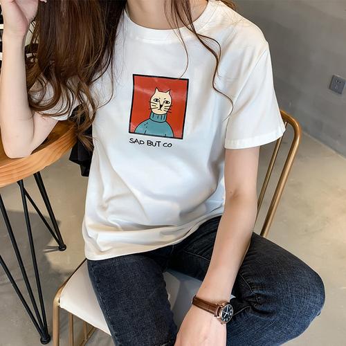 2019春装新款韩版印花t恤女短袖上衣宽松显瘦半袖体恤圆领打底衫
