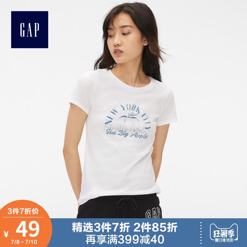 Gap女装印花短袖T恤夏装435714 E 2019新款女士薄款圆领洋气上衣