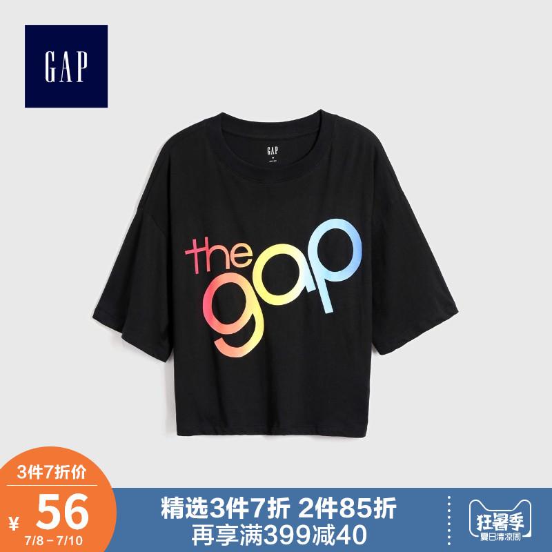 蔡依林明星同款Gap女装上衣512616 2019新款女士时尚logo短袖T恤