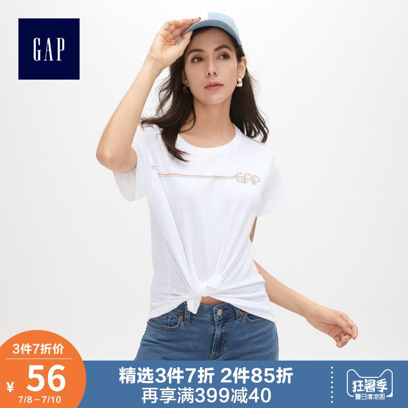 Gap女装纯棉短袖T恤夏季469017 2019新款个性logo圆领白色上衣女