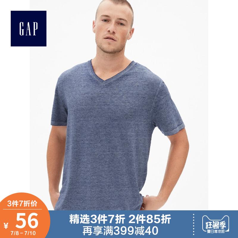 Gap男装休闲短袖T恤夏季464091 2019新款时尚衣服男士帅气V领上衣