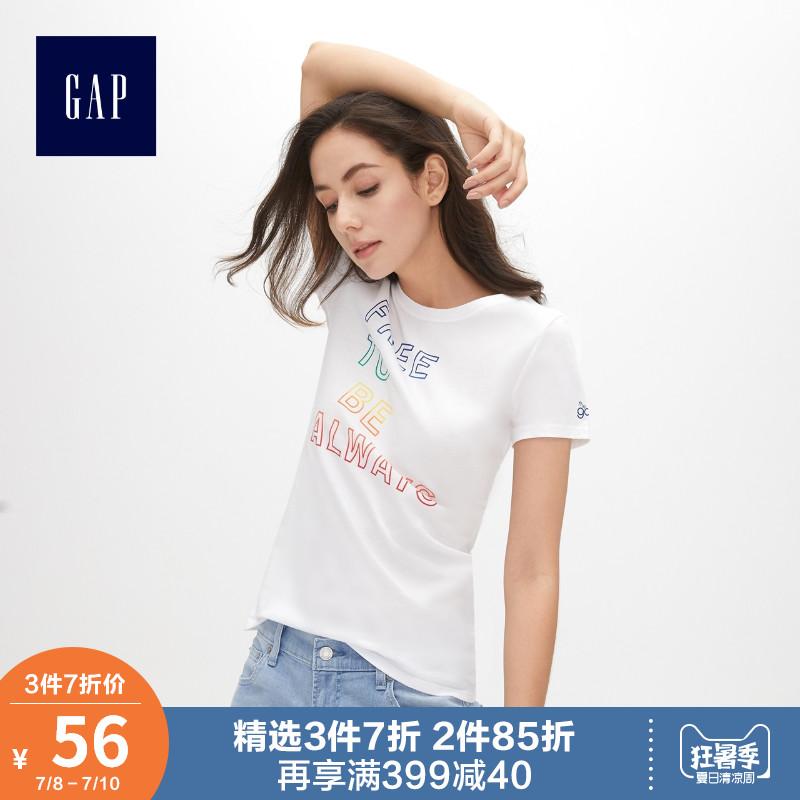 Gap女装纯棉短袖T恤夏季469015 2019新款女士印花薄款上衣情侣装