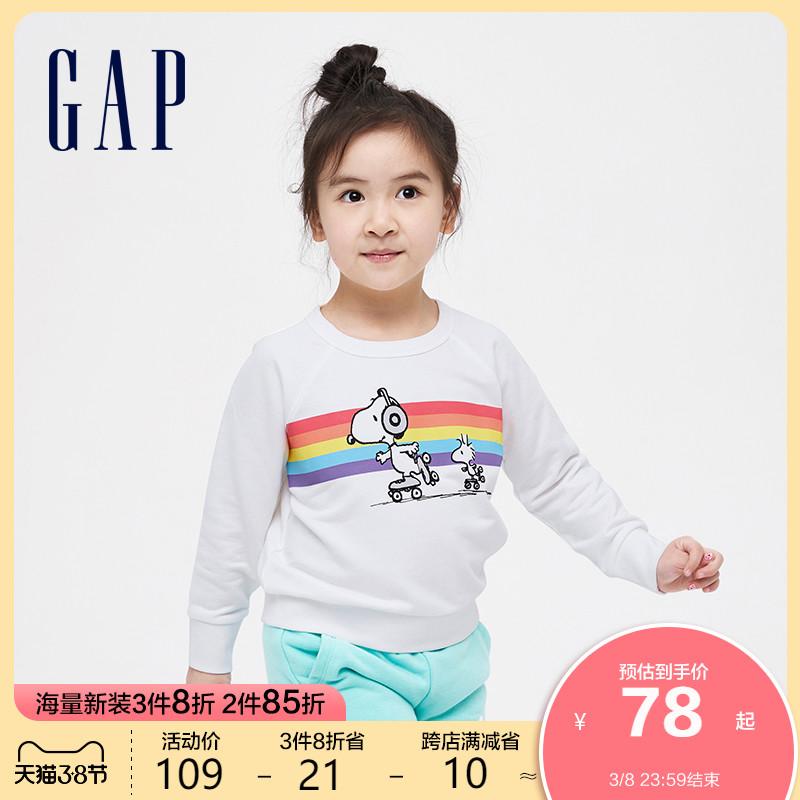 【史努比联名】Gap女童甜美运动圆领卫衣565986春季新款童装上衣