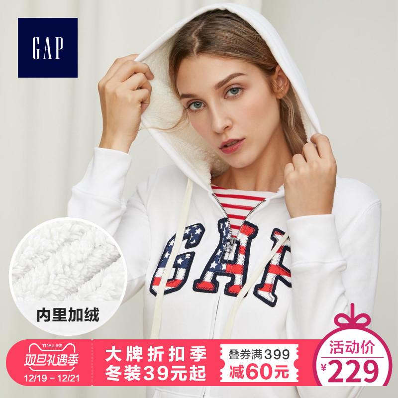Gap女装加绒加厚卫衣374875 E W 女士休闲logo外套开衫上衣连帽衫