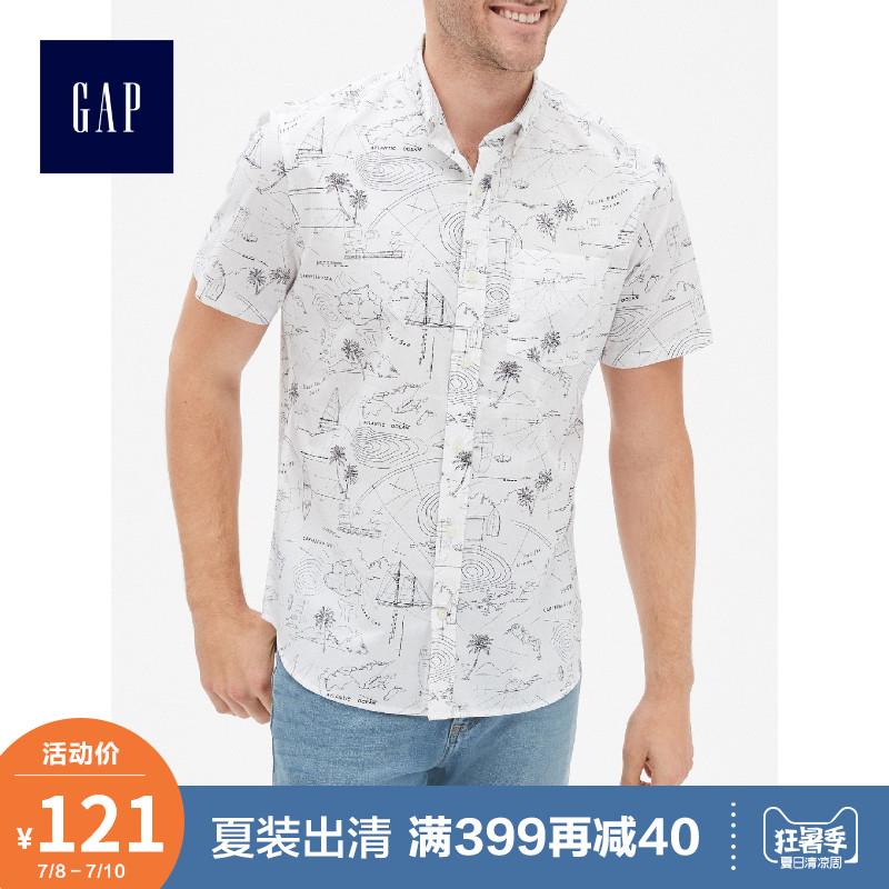 Gap男装纯棉短袖衬衫夏季439594 E 2019新款休闲上衣男士商务衬衣