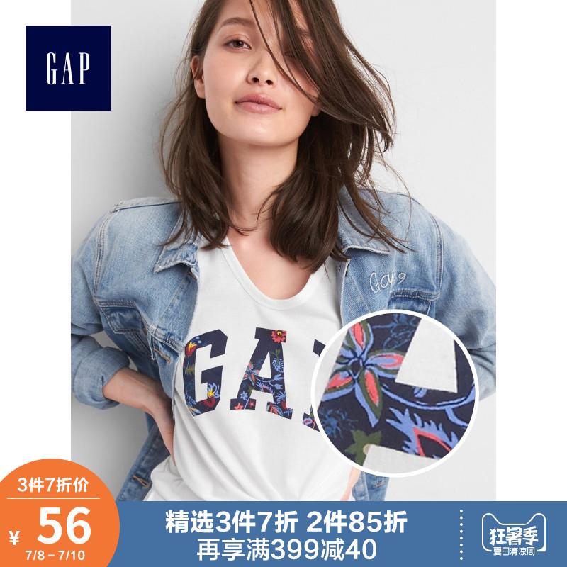 Gap女装纯棉短袖T恤夏装215885休闲logo上衣女士时尚薄款宽松衣服