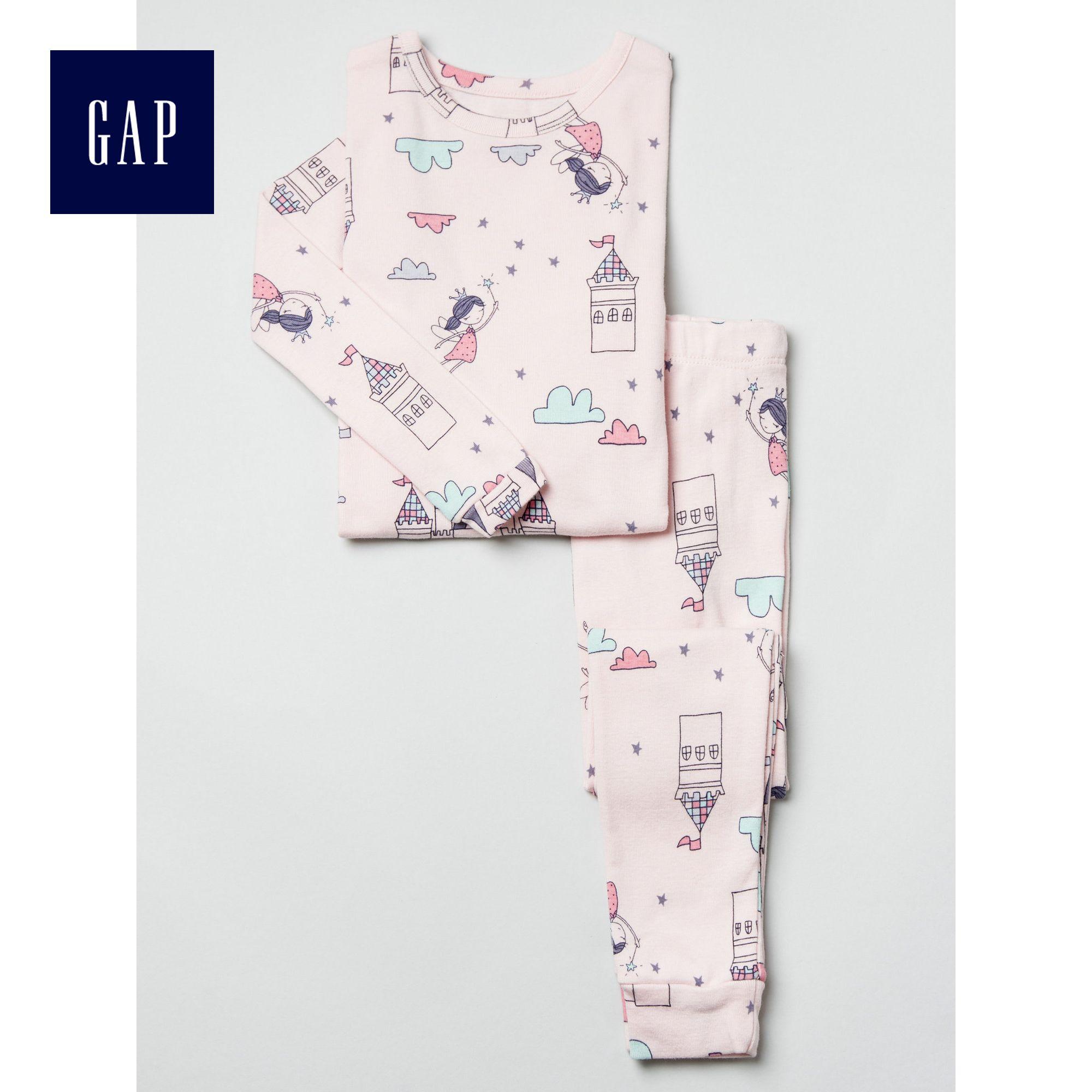 Gap女嬰幼童 活潑可愛印花長款家居套裝213438
