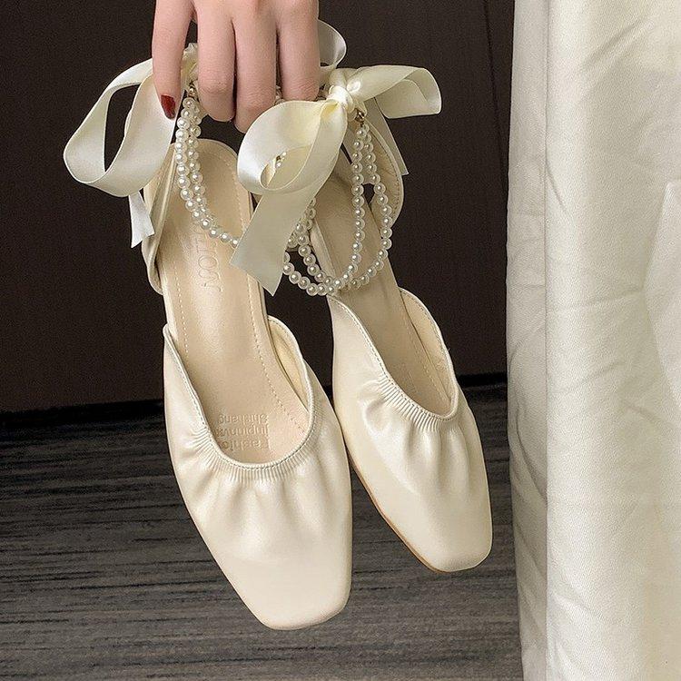 伴娘仙女鞋温柔包头凉鞋女2021新款小众设计中跟淑女法式绑带鞋子