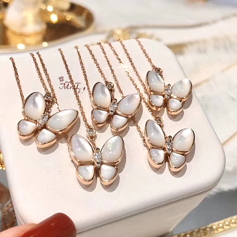 S925 white fritillary butterfly necklace womens pure silver plated 18K Rose Gold Lock bone chain Chinese Valentines Eve jewelry gift to her best friend