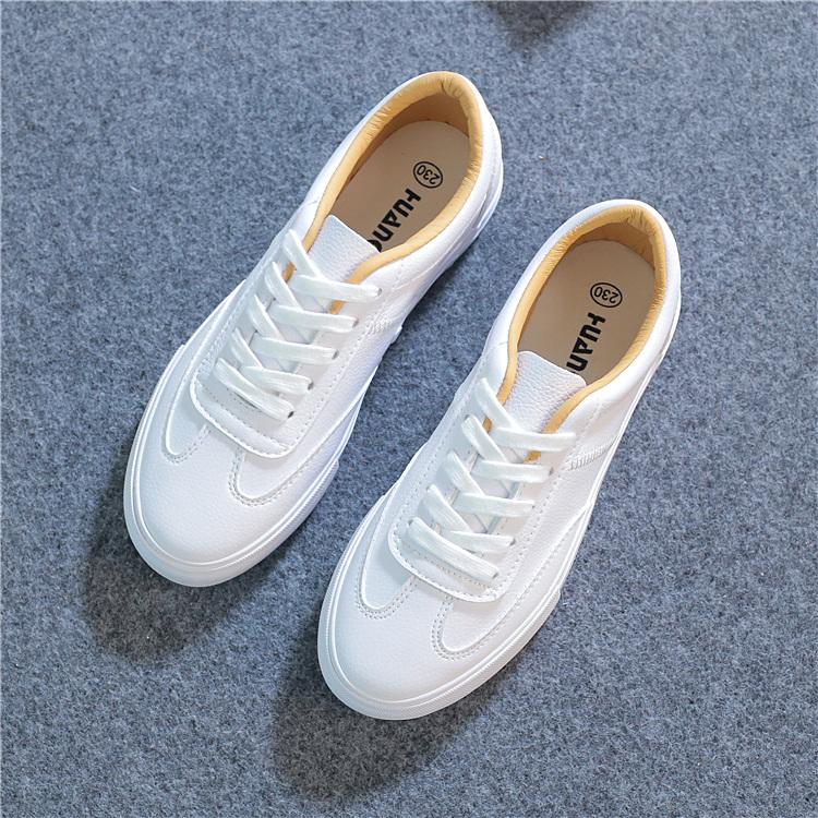皮面文艺小白鞋女平底春季2020新款韩版学生百搭基础系带港味板鞋