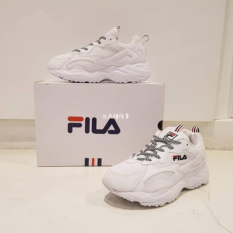 【韩国Fila】纯白全白鞋带3m反光增高复古跑步鞋老爹鞋FS1SIA3130