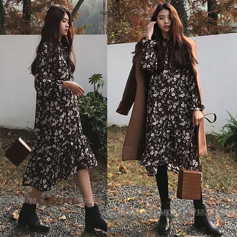 2018秋季新款加大码女装打底衫胖mm显瘦雪纺碎花连衣裙藏肉内搭裙