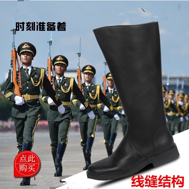 骑士皮靴正品军靴马靴羊毛男靴高筒真皮牛皮阅兵靴长靴仪仗队靴