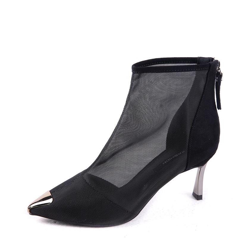 欧美气质短靴女细跟高跟靴黑色2020春秋新款性感镂空网纱靴子凉靴