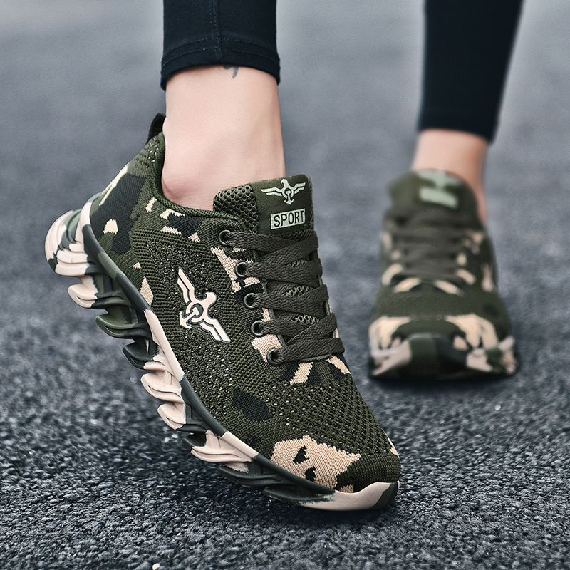 New camouflage sports shoes student training shoes outdoor cross-country shock absorption training shoes soft sole anti-skid running shoes fashion