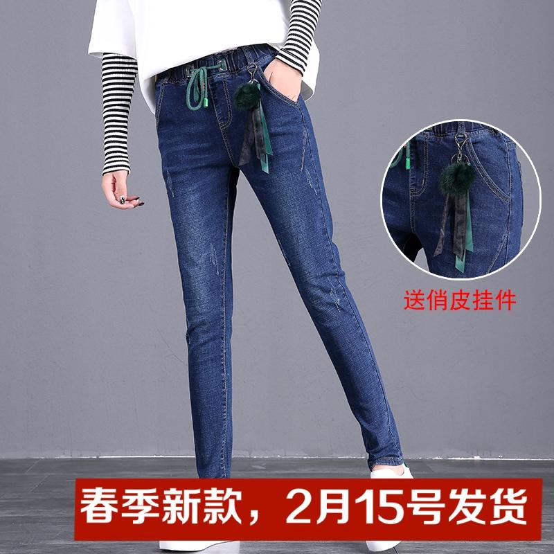 牛仔裤女2019春季新款韩版显瘦修身小脚弹力松紧腰长裤子潮9679