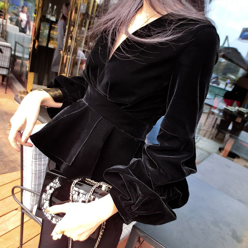 大码女装秋冬灯笼袖V领上衣荷叶收腰显瘦长袖丝绒t恤300斤可穿