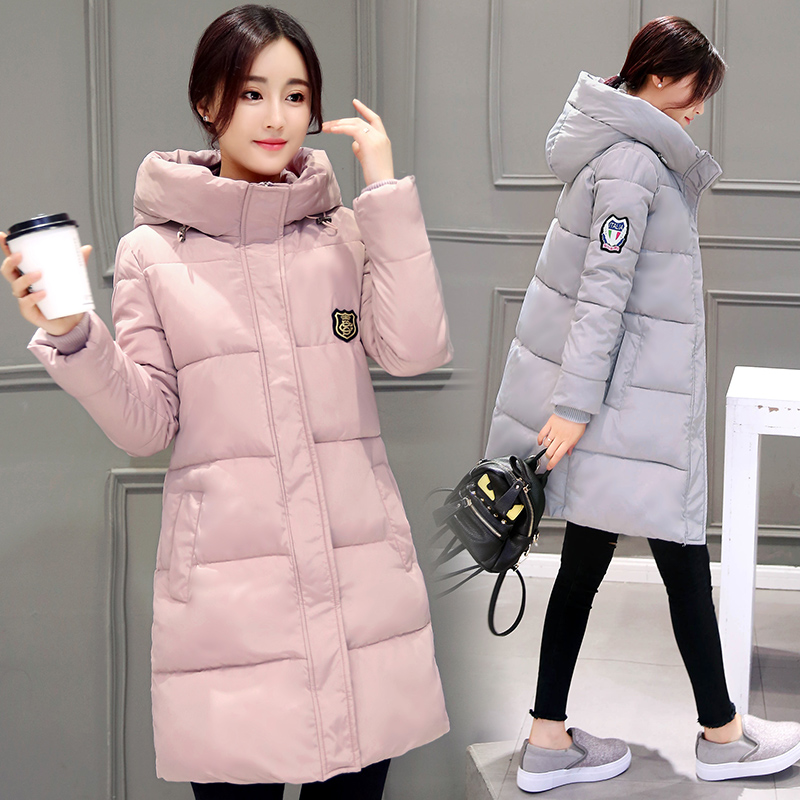 Anti season clearance classic Korean version of medium and long cotton padded clothes womens cotton padded clothes slim and thickened winter coat bread coat cotton padded jacket