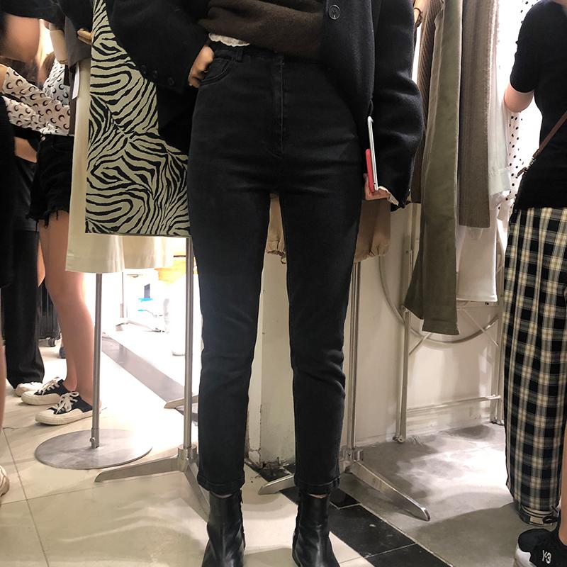2019秋季新款复古黑色显瘦高腰弹力直筒九分小脚烟管牛仔裤子女潮