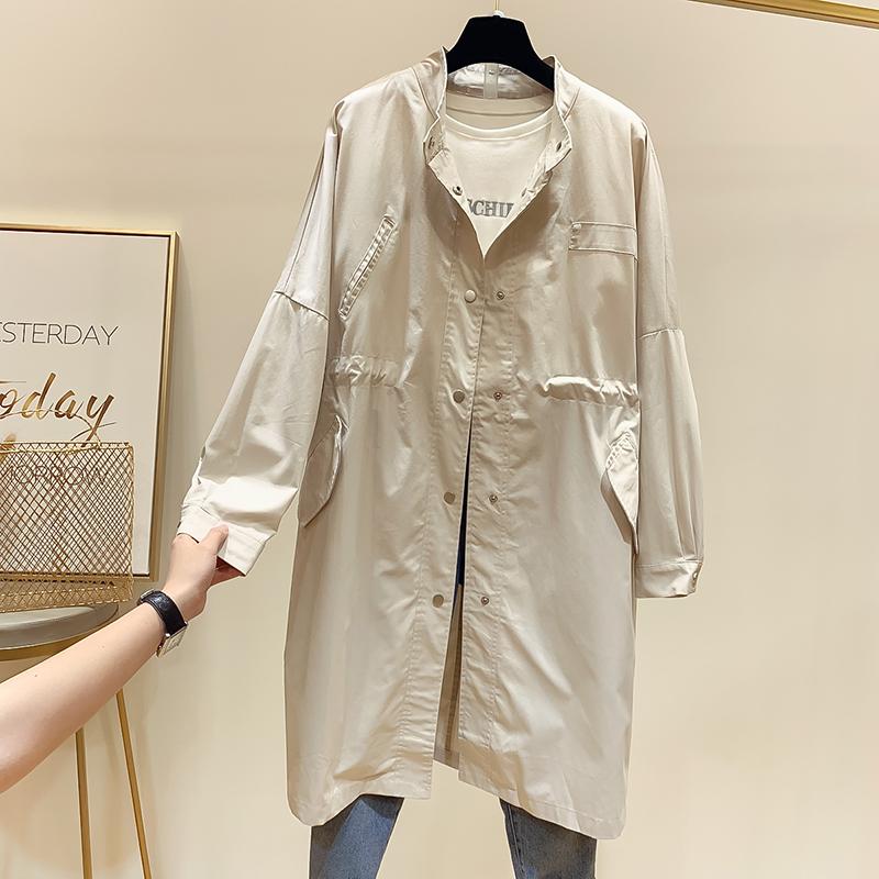 新款韩国气质显瘦纯色立领单排扣抽绳中长款风衣外套女春2019