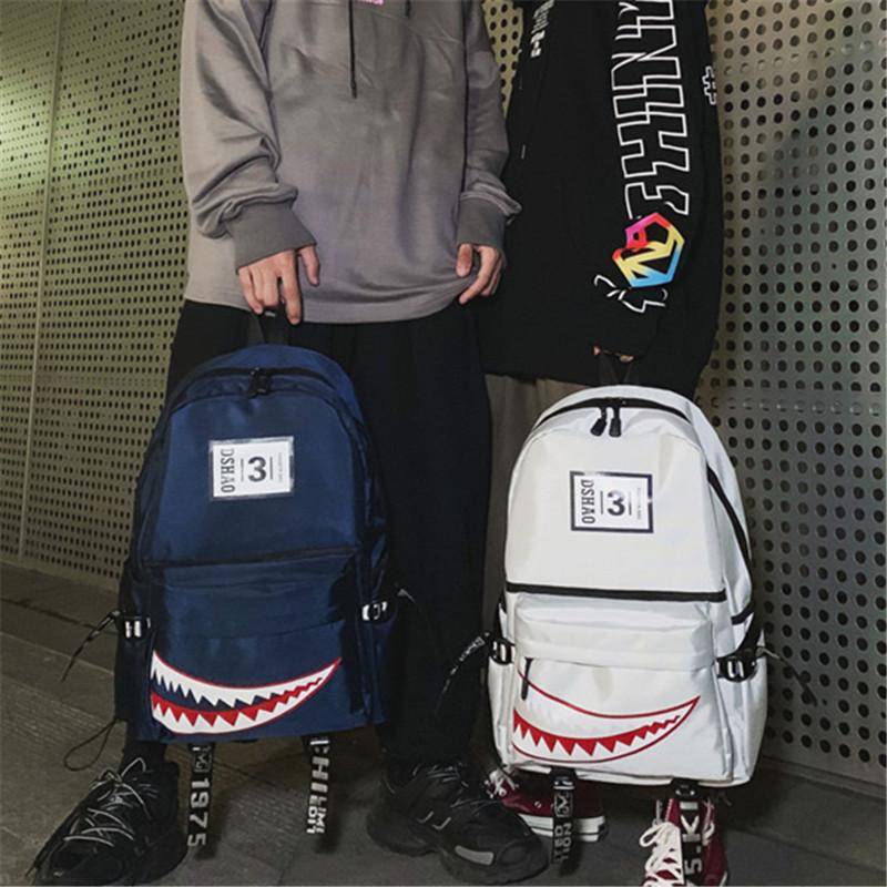 街头潮流新款双肩包男个性创意大鲨鱼时尚校园高中生书包休闲背包