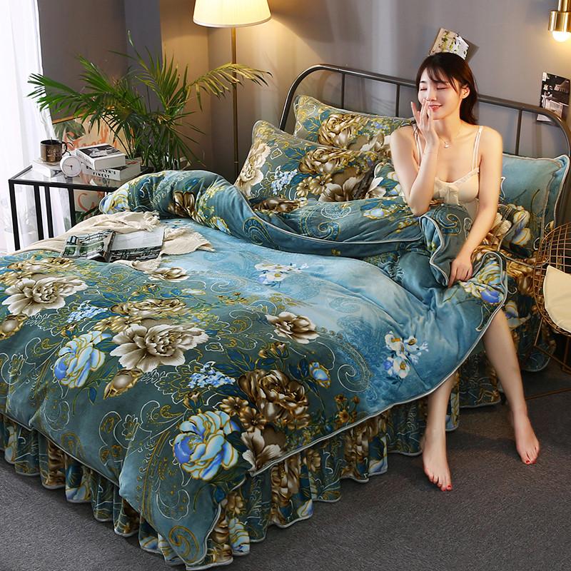 秋冬保暖金貂绒床裙款四件套1.8m/2.2米床加厚珊瑚绒被套加绒床笠