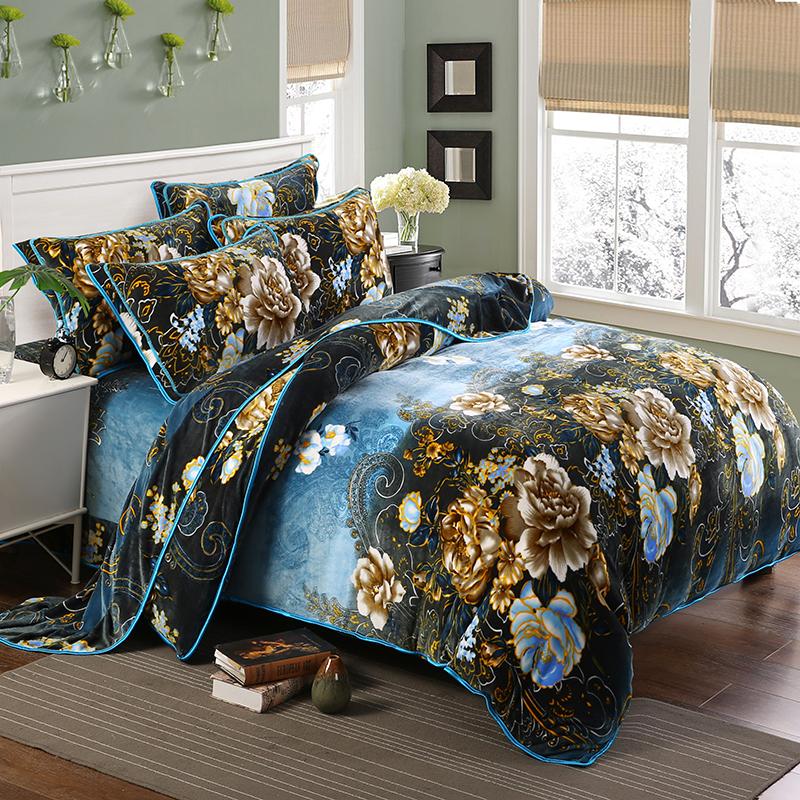 貂狐绒四件套法莱绒珊瑚绒加厚床单加绒被套1.8m/2米床笠床上用品