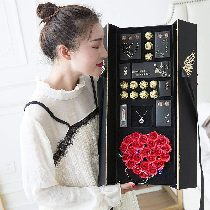 礼盒装送女友浪漫红玫瑰香皂花花盒限1000张券