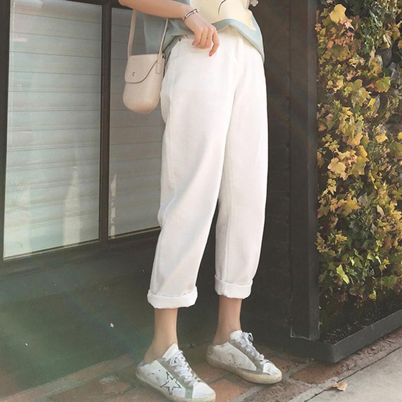 白色孕妇裤牛仔裤春秋外穿时尚宽松休闲直筒九分打底裤子春装夏装热销1件不包邮