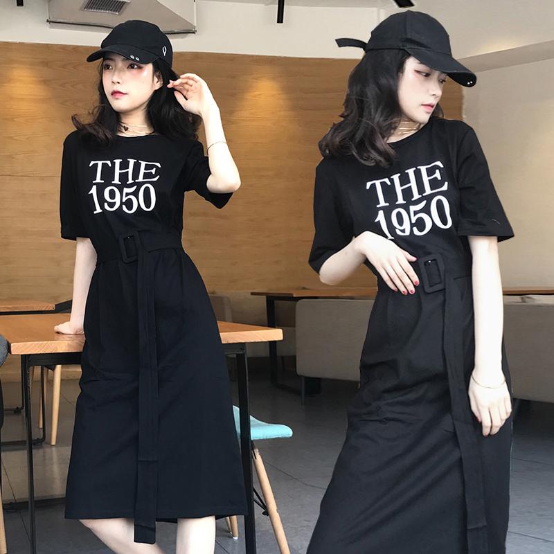 2018夏季新款加�L款T恤裙�n版�^膝棉��松系��赓|�@瘦�w恤�B衣裙