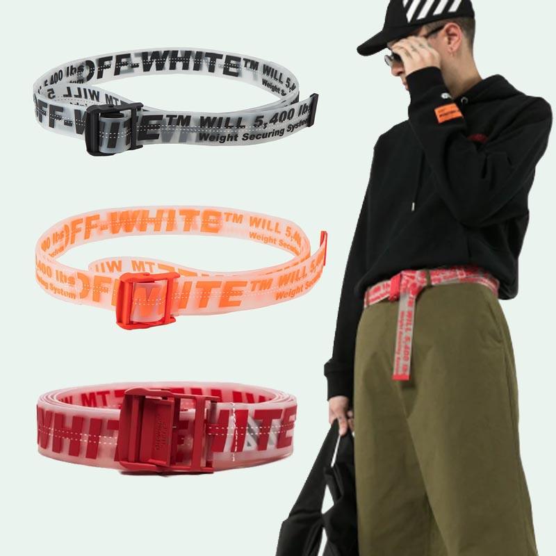 正确版美国潮牌FAKEOW工业字母风粉色腰带off黄色WHITE织带皮带