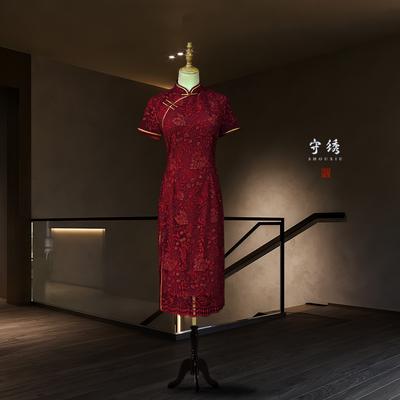 花鸢 酒红色蕾丝中长款结婚喜婆婆旗袍妈妈装宴会礼服中式婚礼