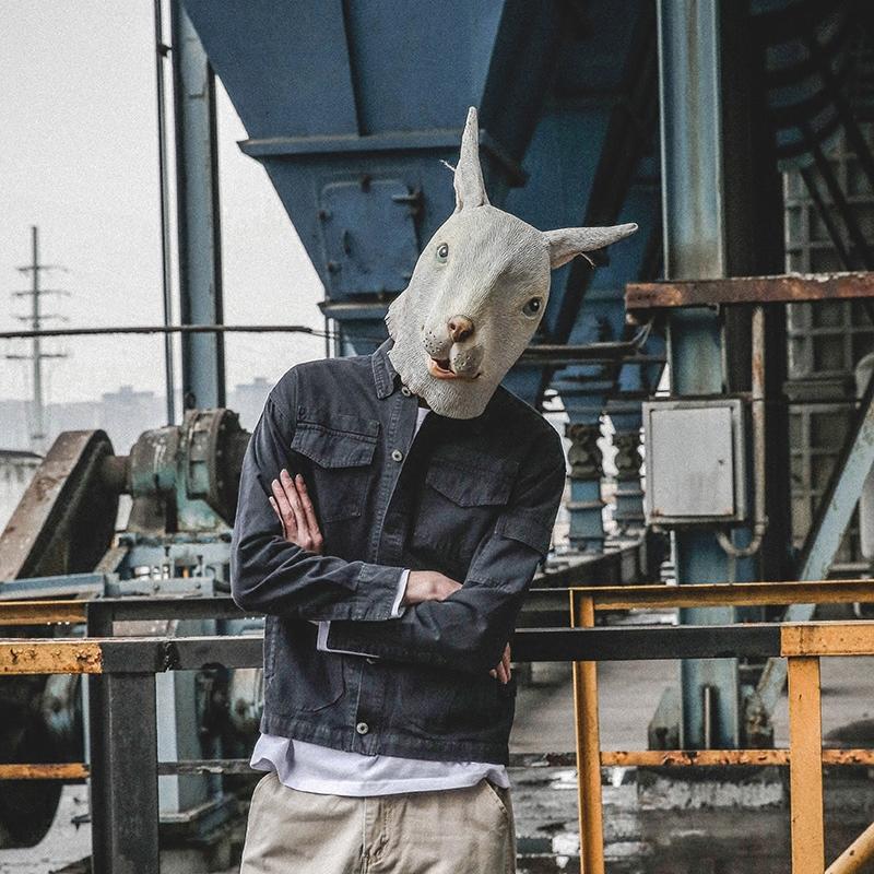 LMTNZD春季原创复古潮流做旧薄款工装外套韩版修身纯色长袖衬衫男