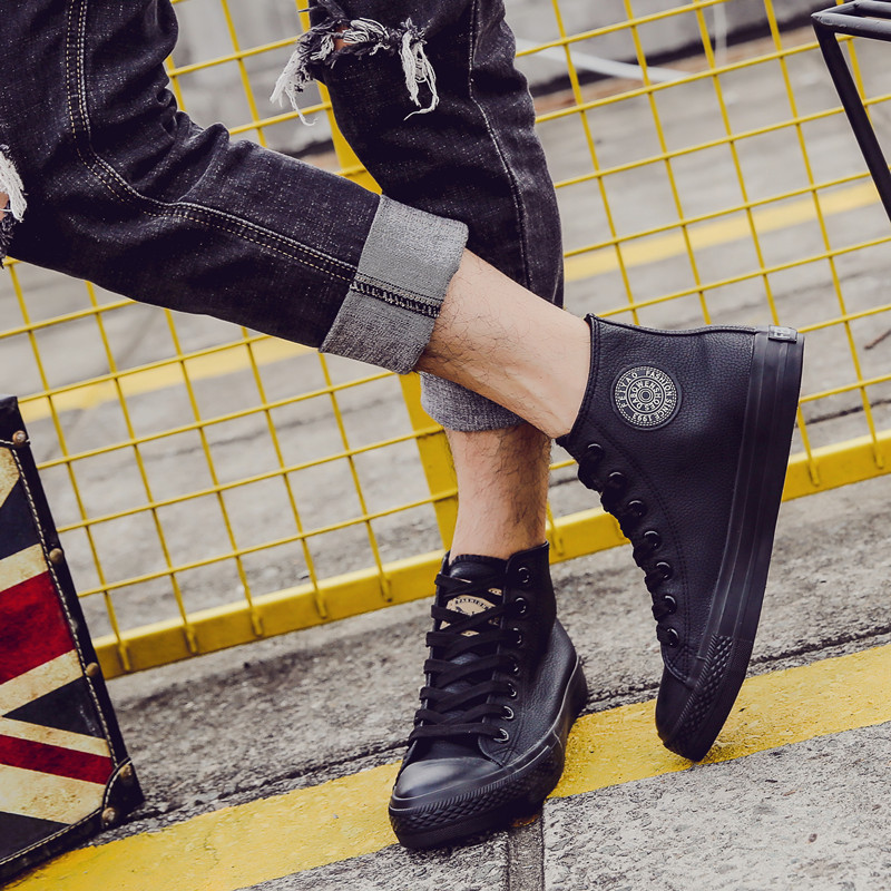 New mens high top shoes canvas shoes mens Korean fashion shoes black leather casual shoes board shoes versatile waterproof PU leather