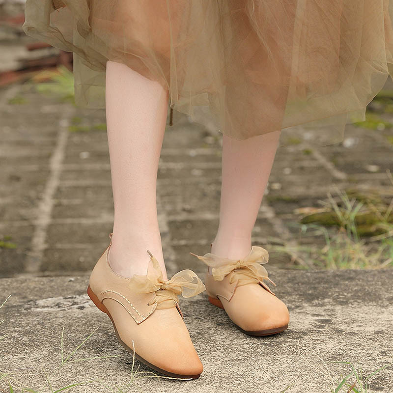 2021 spring new womens shoes leather shoes processing leather flat shoes round head soft sole low top single shoes