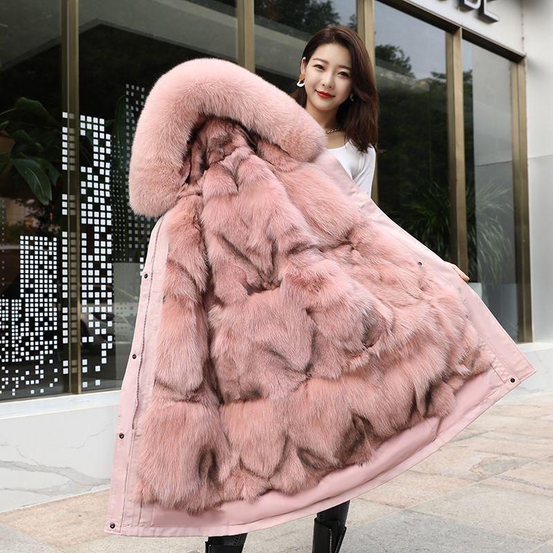 Pai overcome womens 2020 winter new Fox Fur grass liner coat Haining medium and long pike coat detachable