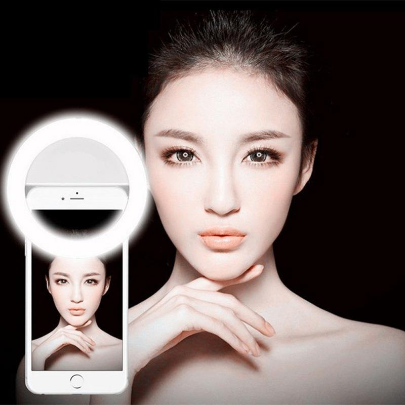 自拍补光灯 RK12圆形USB充电款美颜直播手机拍照摄影 LED闪光灯