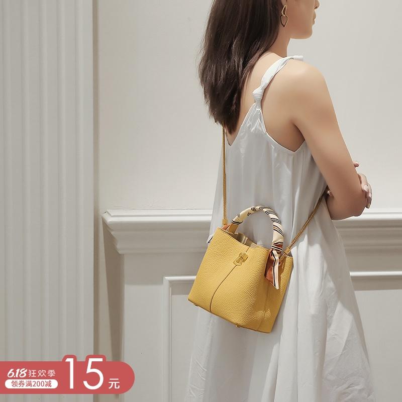 时尚小包包链条女包新款2020潮百搭女士水桶包真皮单肩斜挎手提包图片