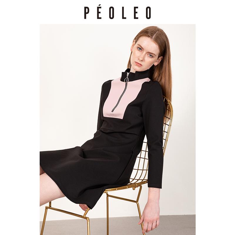 (用500元券)Peoleo飘蕾2019秋季新款拼接撞色连衣裙半高领收腰显瘦A字中长裙