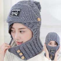秋冬季全方位防寒针织帽女士骑车保暖帽子韩版加绒毛线帽子套帽