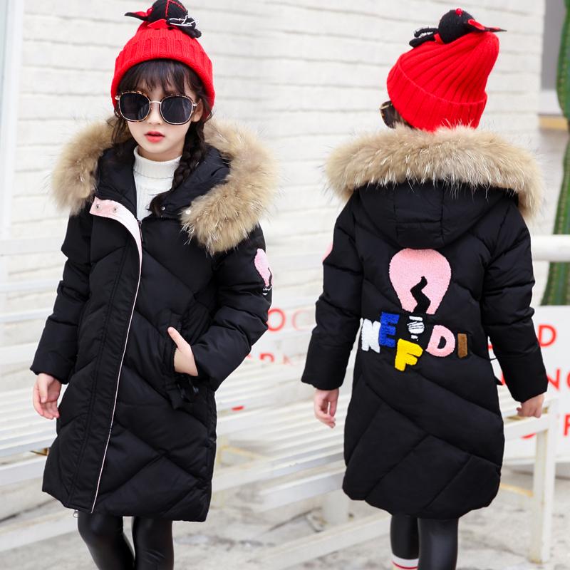 儿童羽绒棉服女童中长款韩版中大童女孩棉衣冬装加厚女装2018新款