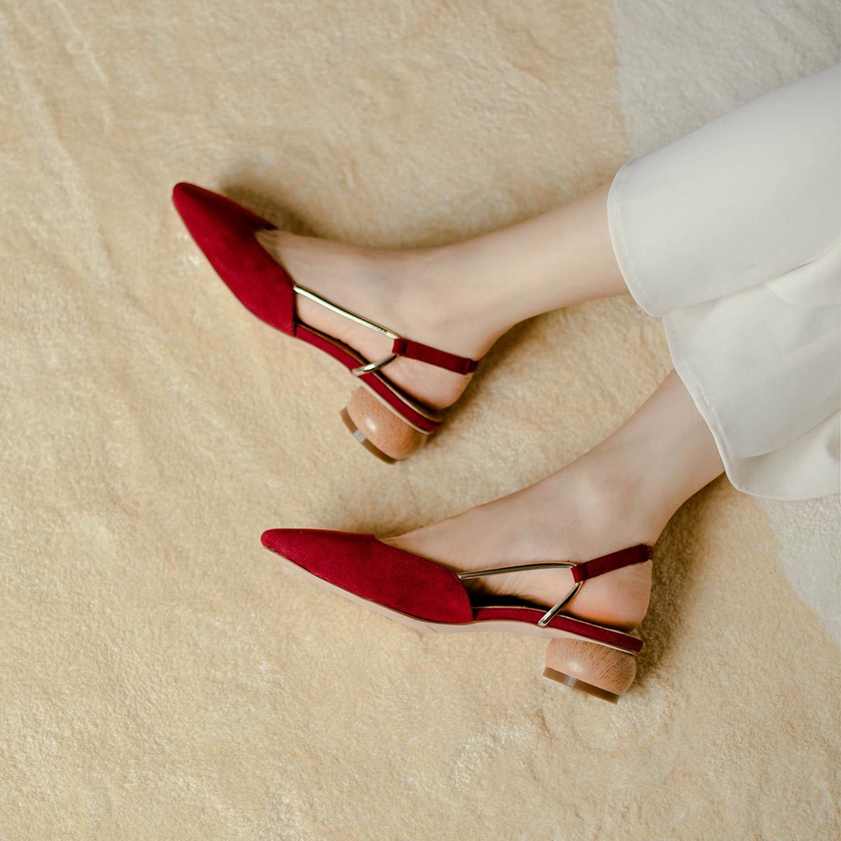 妙侣包头凉鞋女2021新款春季仙女风单鞋粗跟百搭温柔晚晚高跟鞋女