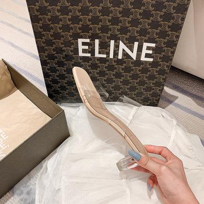 妙侣2021年新款透明水晶跟粗跟凉拖鞋女夏外穿时尚高跟凉鞋ins潮