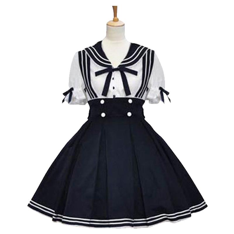 lolita洋装公主裙日常海军风连衣裙可爱淑女学院学生两件套蓬蓬裙